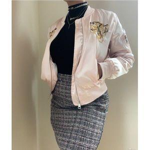 Pink Tiger Embroidered bomber jacket